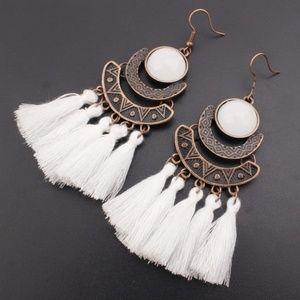 Bohemian White Tassel Earrings